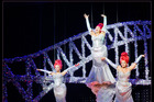 Thursday night at Auckland's Civic theatre got a little more dramatic than the musical Priscilla's producers intended as one of its actresses was left hanging in mid-air during the closing act.