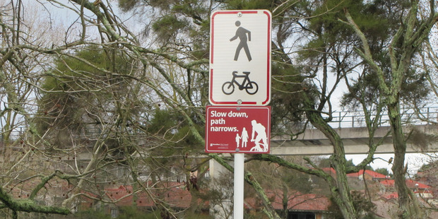Share with care signage such as this will be installed on all of Rotorua's shared walking and cycle paths.