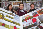 SHOWCASE: From left, Sammy-Lee Haimona, 16, Nadia Elers, 17, Dixie Yates-Francis, 16.with some of the work which will be on display. PHOTO/STEPHEN PARKER