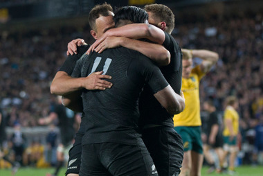 All Blacks wing Julian Savea celebrates after scoring a try against Australia. Photo / Nick Reed