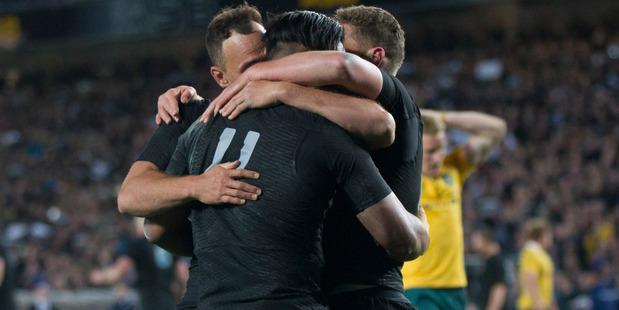 Loading All Blacks wing Julian Savea celebrates after scoring a try against Australia. Photo / Nick Reed