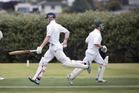 PARTNERSHIP: Bay of Plenty batsmen Campbell Thomas, left, and Kyle Dovey take a run against Hawke's Bay at Tauranga Domain. PHOTO/ANDREW WARNER