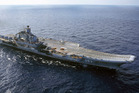 Russia's Admiral Kuznetsov carrier seen in the Barents Sea, Russia. Photo / AP