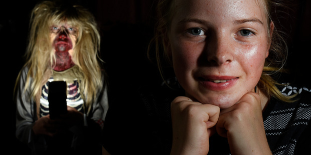 Ruby Neverman, 12, of Pongakawa uses latex to create special effects make-up such as zombie masks. Photo/George Novak