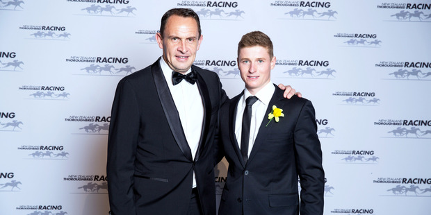 Chris Waller and James McDonald at the 2015 Horse of the Year Awards. Photo / Supplied