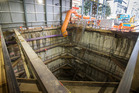 A 12m-deep City Rail Link launch shaft on the corner of Albert St in Auckland. Photo / Nick Reed