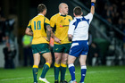Quade Cooper (No 10) was yellow-carded the last time he played on Eden Park. Photo / Dean Purcell NZ Herald.