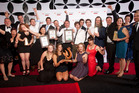 Supreme winners Canopy Tours celebrate at the Rotorua Business Awards. Photo/Andrew Warner.
