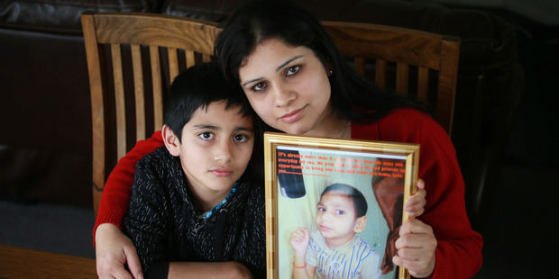 Loading Roshna Kandel and her son Saphal Singh at home in Papakura, Auckland. Roshna is trying to be reunited with her disabled son Santosh Singh in New Zealand. Photo / Doug Sherring