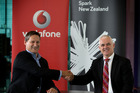Vodafone New Zealand chief executive Russell Stanners and Spark New Zealand managing director Simon Moutter on the TGA cable was announced.