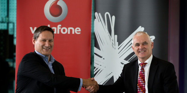 Loading Vodafone New Zealand chief executive Russell Stanners and Spark New Zealand managing director Simon Moutter on the TGA cable was announced.