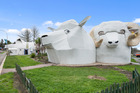 Tirau's corrugated iron sheep and ram is for sale and agent Blair Hutcheson said interest has been good.