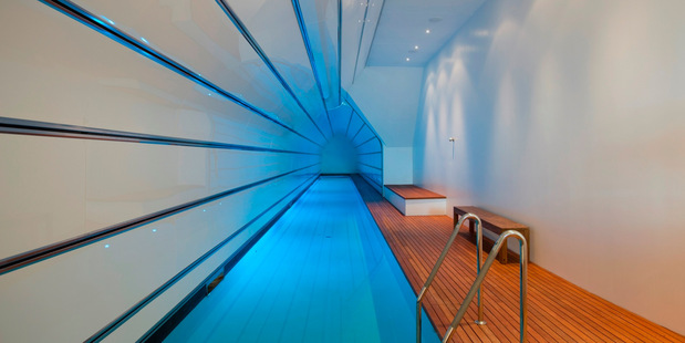 The Olympic length indoor lap pool is one of three pools at the mansion. Photo / Barfoot and Thompson