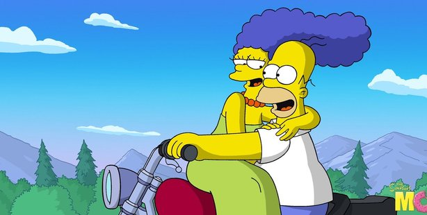 Homer Simpson and Marge Simpson in a scene fronm The Simpsons Movie.