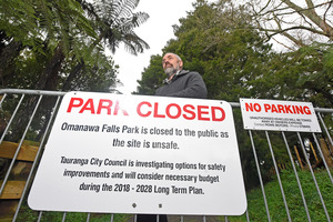 Warren Dawson fears someone will die, with increased tourist numbers to the Omanawa Falls. PHOTO/George Novak.