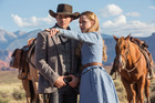 James Marsden and Evan Rachel Wood in a scene from the TV show, Westworld.