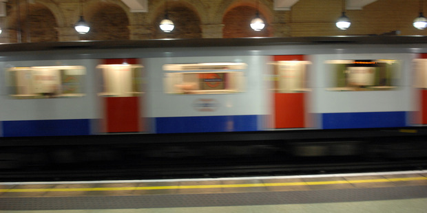 London Underground train, Gloucester Road Station, London.