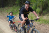 A father and son try out the new Waitangi Mountain Bike Park trails on opening day.