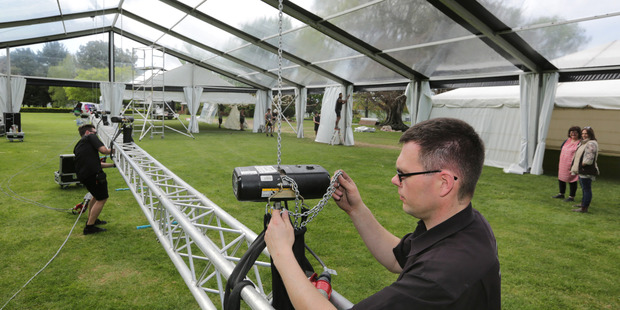 Image Group NZ managing director Rhys Doherty was part of the team bustling around Hawke's Bay showgrounds yesterday in preparation for the Hawke's Bay A&P Bayleys Wine Awards. PHOTO/DUNCAN BROWN