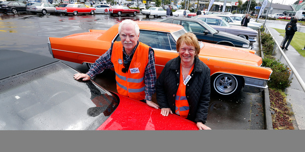 Pahi couple Bob and Elaine Hooker had to keep the lid on their bright red, rag top Caddy. Photo/John Stone