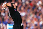 All Blacks hooker Sean Fitzpatrick at the lineout in 1997. Photo / www.photosport.nz