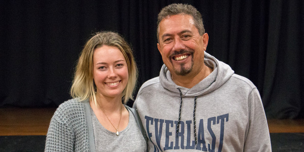 "Kaitaia College student Nina Griffiths, pictured with suicide prevention campaigner Mike King, says while there has been a decrease in the number of suicides in Northland there are still ""too many""."