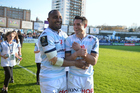Former All Blacks and Racing 92 teammates Joe Rokocoko and Dan Carter. Photo / INPHO/Billy Stickland