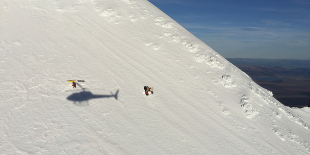 The rescue yesterday on Mt Ruapehu.