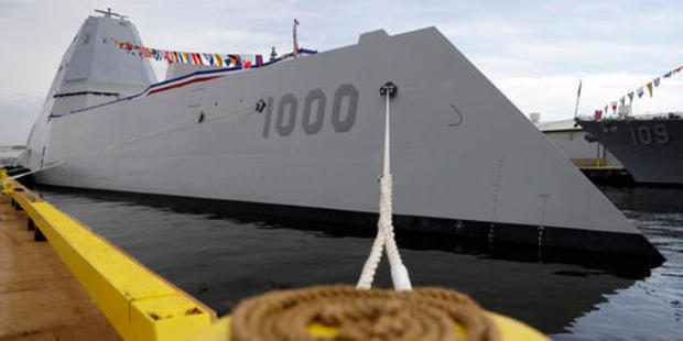 The USS Zumwalt docked in Baltimore. It's home port will be San Diego. Photo / AP