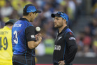 Black Caps Ross Taylor and captain Brendon McCullum during the 2015 Cricket World Cup final. Photo / Brett Phibbs