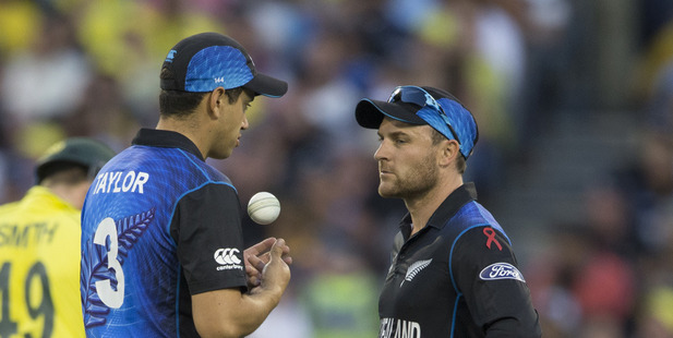 Loading Black Caps Ross Taylor and captain Brendon McCullum during the 2015 Cricket World Cup final. Photo / Brett Phibbs