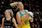 Caitlin Bassett of Australia receives a pass during the final Constellation Cup test match. Photosport