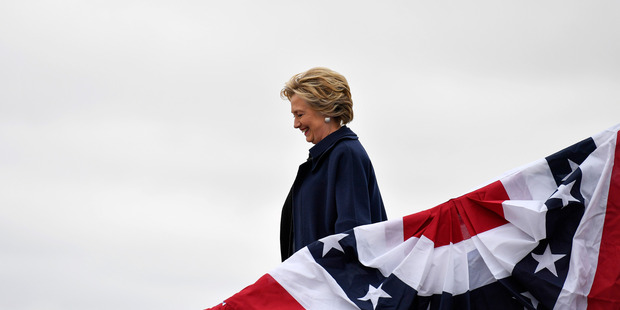 Hillary Clinton exits her plane before attending a rally. Photo / The Washington Post / Ricky Carioti