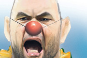 The cartoon on Wallabies coach Michael Cheika on the front page of the Weekend Herald sport section.