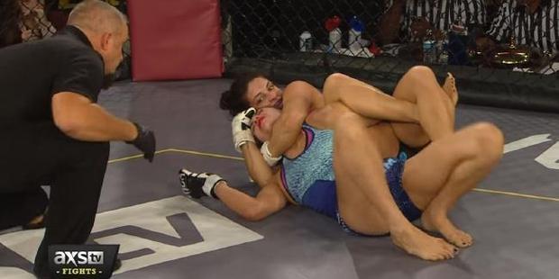 Mackenzie Derm won by the rare Omoplata rear naked choke in her last fight.