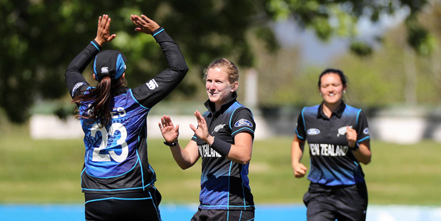 Morna Nielsen of New Zealand celebrates taking the wicket of Lizelle Lee of South Africa. Photosport