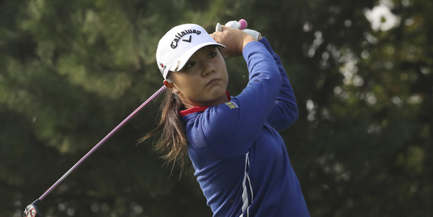 Lydia Ko of New Zealand watches her shot on the fourth hole during the third round of the LPGA KEB Hana Bank Championship. Photo / AP