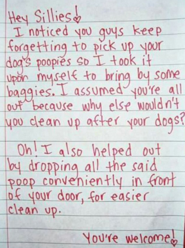 After neighbours failed to clean up  after their dog, they received this hilariously passive aggressive note. Photo / Twitter