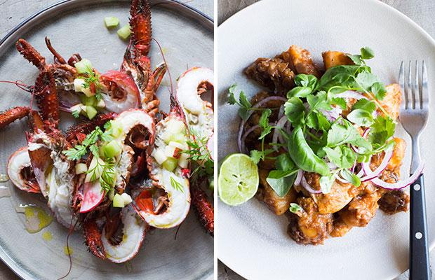 In this week's Bite: Keewai (freshwater crayfish) and Mamia Wat's chicken and potatoes. Photo / Bite magazine