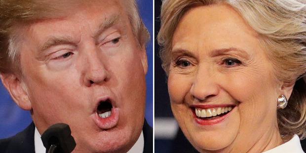 Donald Trump and Hillary Clinton exchanged barbs in the third debate. Photos / AP