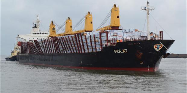 Bulk carrier ship MV Molat entering port of Sunderland in 2013. Photo / Twitter.