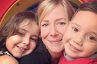 Sally Faulkner with her children Lahela and Noah who were taken by their father 18 months ago.