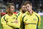 Australian cricket captain Steve Smith talks to his vice captain David Warner, right. Photosport