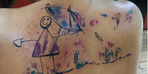 Parents are inking their children's artworks on their skin in a new social media craze. Photo / javier_he Instagram