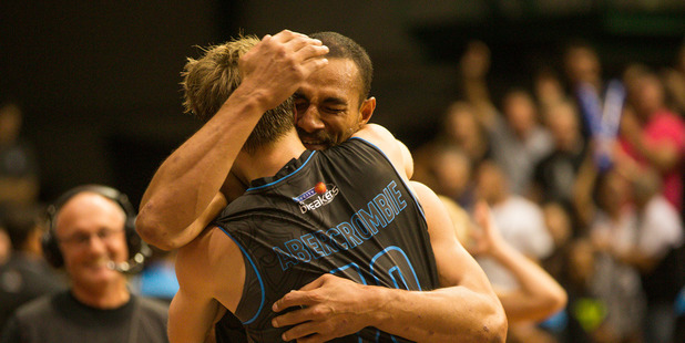 Breakers veterans Mika Vukona and Tom Abercrombie are ecstatic after the 2015 win over the Cairns Taipans. Picture / Jason Dorday