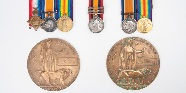 A set of rare war medals belonging to three Kiwi brothers who died in battle will be auctioned in Auckland. Photo / supplied