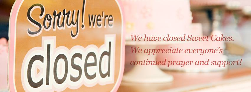 'We have closed Sweet Cakes. We appreciate everyone's continued prayer and support,' the business wrote on Facebook. Photo / Sweet Cakes Facebook