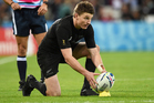 Beauden Barrett lines up a kick. Photo / Photosport