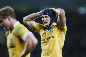 Wallabies flanker Dean Mumm has been handed a one match suspension for an elbow on All Blacks lock Brodie Retallick. Photo / Photosport