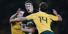 Wallabies coach Michael Cheika is blaming Brodie Retallick for an incident that has one of his flankers cited for foul play. Photo / Photosport